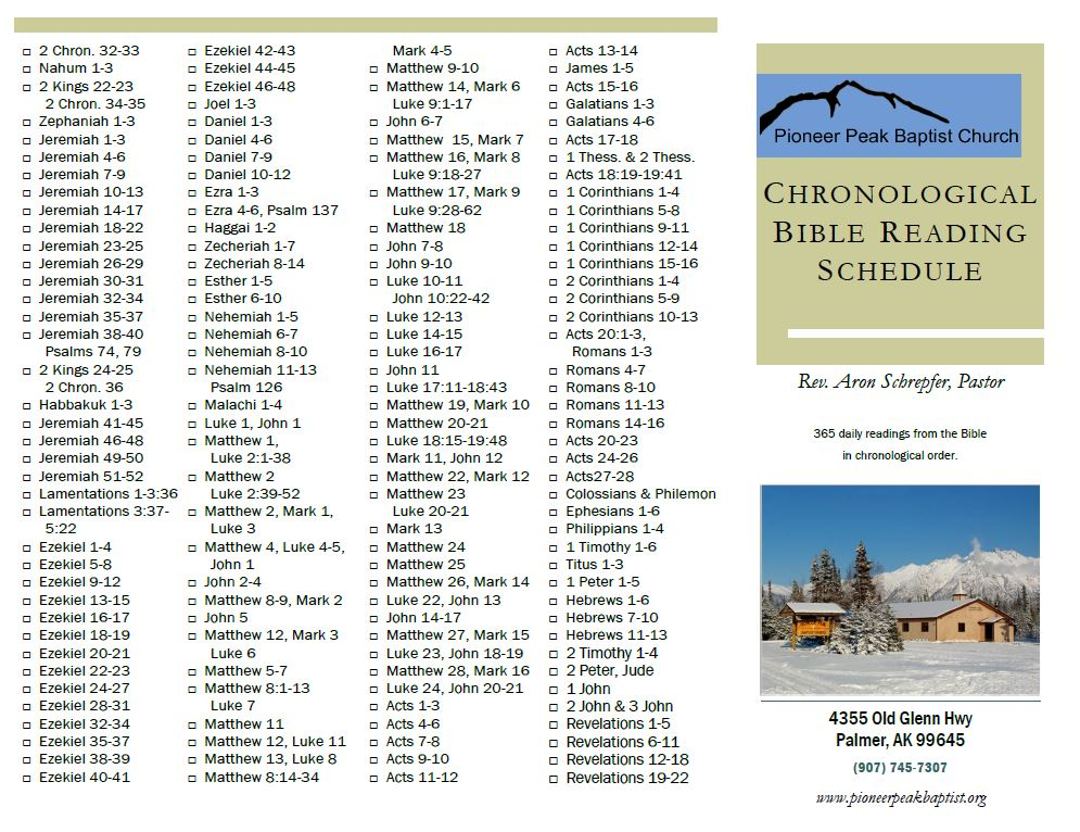 photograph relating to Chronological Bible Reading Plan Printable referred to as Printable Bible Studying Schedules Pioneer Height Baptist Church